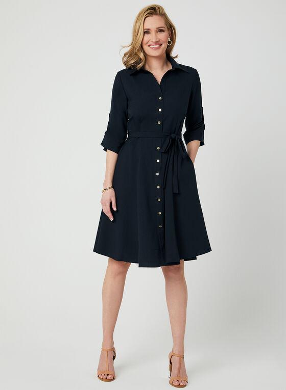 ¾ Sleeve Shirt Dress, Blue, hi-res