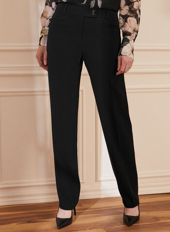 Straight Leg Pants, Black,  spring summer 2021, pants, straight leg, button welt pockets, button zipper front closure, side pockets