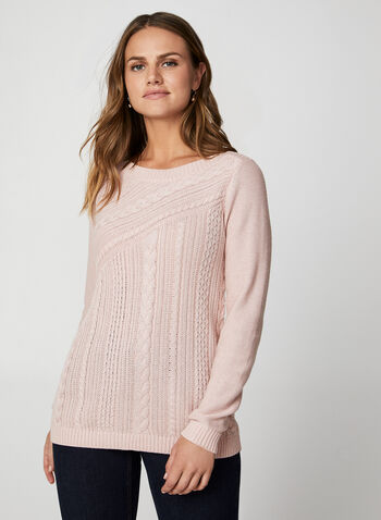 Metallic Cable Front Sweater, Pink,  knit, sweater, metallic sweater, knit sweater, metallic sweater, metallic, glitter, long sleeves, holiday top, fall 2019, winter 2019