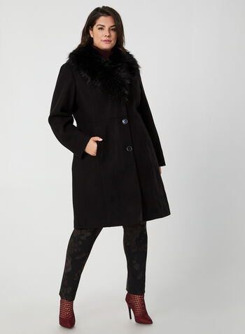Faux Wool Coat, Black, hi-res,  coat, faux fur coat, faux wool coat, faux fur, buttoned coat, fall 2019, winter 2019