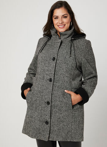 Hooded Wool Blend Coat, Black, hi-res