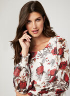 Floral Print Long Sleeve Blouse, White, hi-res