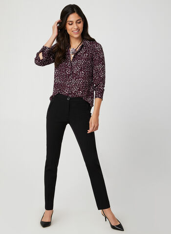 Leopard Print Long Sleeve Top, Purple,  long sleeve, crepe fabric, button down front, leopard print, Fall 2019, Winter 2019