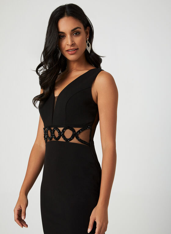 Stretch Crepe Beaded Gown, Black