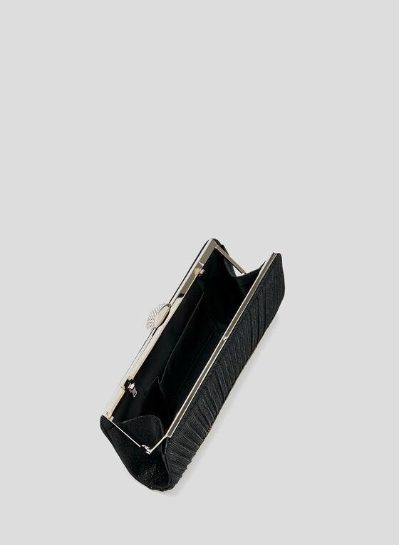 Pochette métallisée à détails cristaux, Noir, hi-res