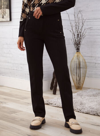 Signature Fit Straight Leg Pants, Black,  fall winter 2020, pants, signature fit, straight leg, pleated, pleats, welt pockets, stretch