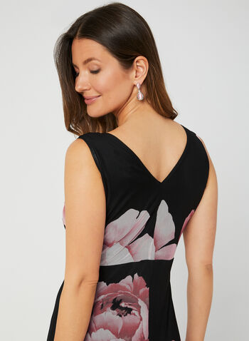 Nina Leonard - Floral Print Dress, Black, hi-res