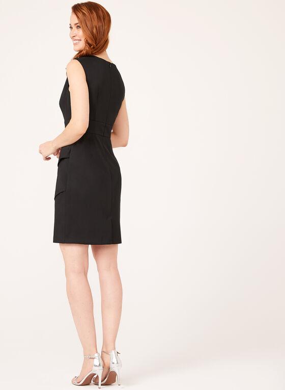 Rhinestone & Pearl Embellished Tiered Dress, Black, hi-res