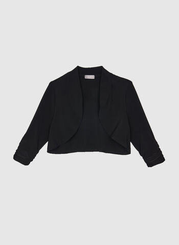 Shirred Sleeve Open Front Bolero, Black, hi-res