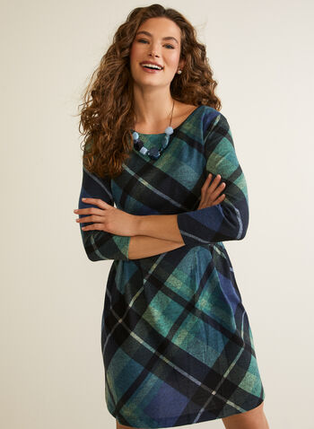 Tartan Print Day Dress, Blue,  day dress, tartan, knit, long sleeves, fall winter 2020