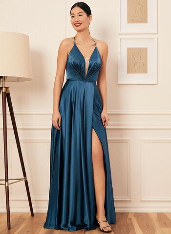 Pleated Bodice Satin Dress, Green,  prom dress, sweetheart, a-line, satin, sleeveless, lace-up, pockets, mesh, slit skirt, spring summer 2021