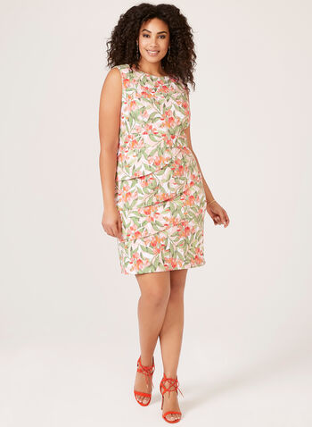Tropical Print Day Dress, Orange, hi-res