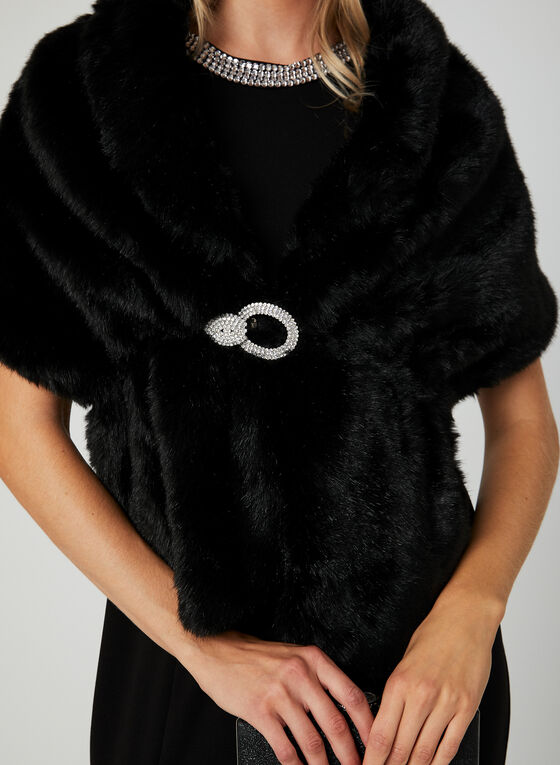 Faux Fur Shawl , Black, hi-res