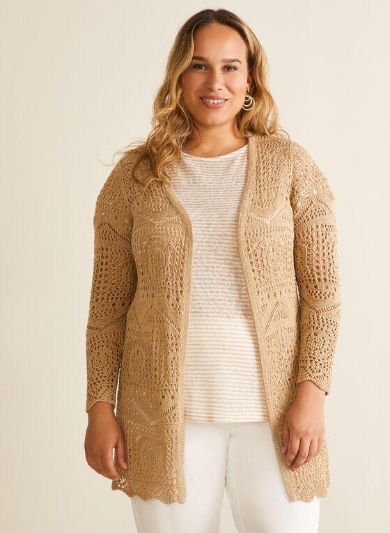 Long Open Front Crochet Cardigan, Off White