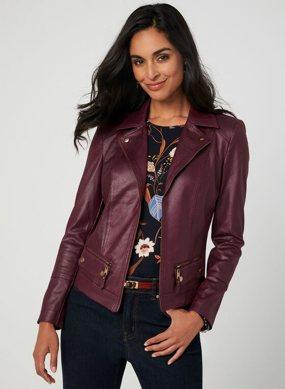 Notch Collar Jacket, Red, hi-res
