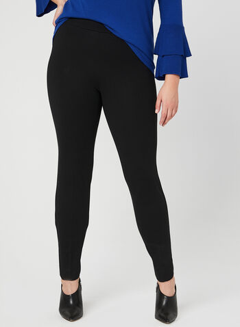 Pull-On Slim Leg Pants, Black, hi-res