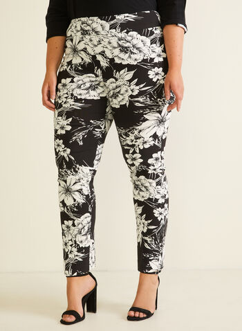 Joseph Ribkoff  - Pantalon fleuri pull-on, Noir,  pantalon, pull-on, cité, jambe étroite, fleurs, printemps été 2020