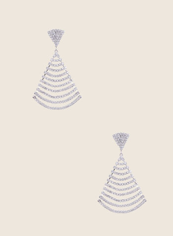 Draped Crystal Dangle Earrings, Silver,  earrings, jewellery, accessories, dangle, crystal, drape, tiered, spring summer 2020