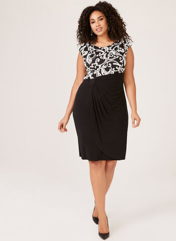 Soutache Detail Faux Wrap Dress, Black, hi-res