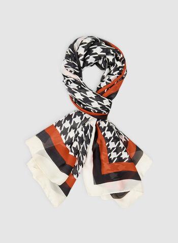 Foulard motif pied-de-poule, Rouge, hi-res,  foulard, mousseline, pied-de-poule, bordure contrastante, automne hiver 2019