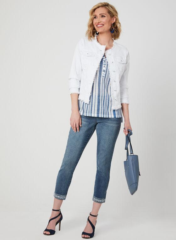 Stripe Print Linen Top, White, hi-res