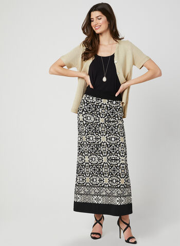 Aztec Print Maxi Skirt, Black, hi-res