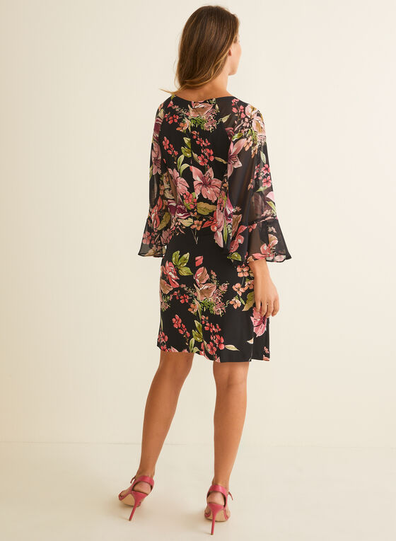 Ruffle Sleeve Floral Dress, Black