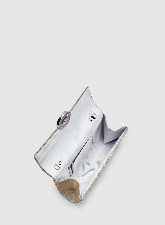 Pochette pailletée à fermoir disque, Argent, hi-res