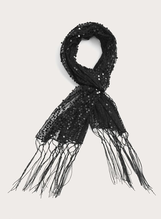 Foulard en maille scintillante, Noir, hi-res