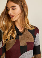 Geometric Print Knit Top, Red