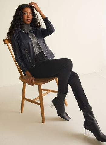 Vex - Blazer en faux cuir et détails œillets, Bleu,  blazer, faux cuir, faux suède, zips, œillets, manches longues, épaulettes, printemps été 2020