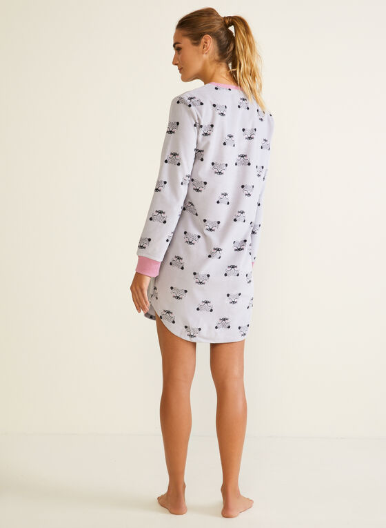 Robe de nuit à motif animal, Gris