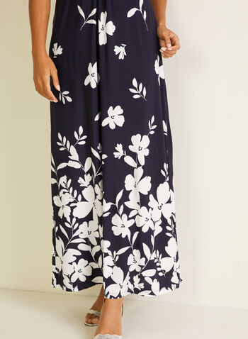Floral Print Maxi Dress, Blue,  day dress, maxi, floral print, sleeveless, v-neck, spring summer 2020