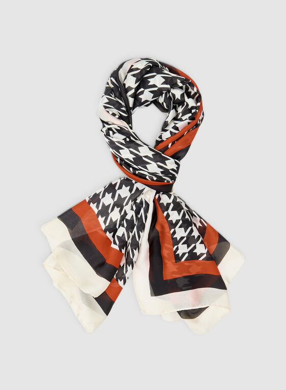 Houndstooth Print Scarf, Red