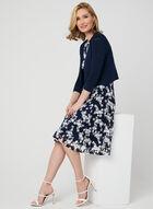 Nina Leonard - Boléro en tricot ottoman, Bleu, hi-res