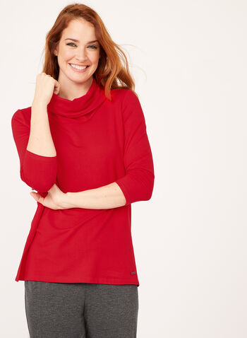 ¾ Sleeve Cowl Neck Sweater, Red, hi-res
