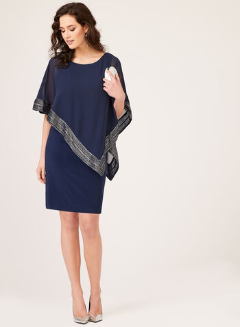 Foil Trim Poncho Dress, Blue, hi-res