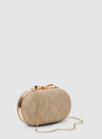 Oval Box Clutch, Gold,  clutch, oval, metallic, bow, fall 2019, winter 2019