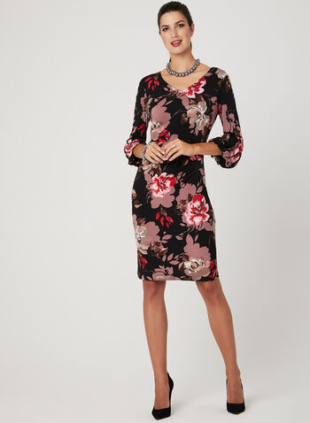 Floral Print Puff Sleeve Dress, Black, hi-res