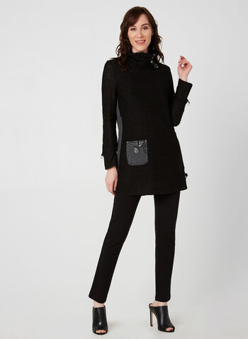 Turtleneck Knit Tunic, Black, hi-res,  tunic, long sleeves, turtleneck, knit, embellishments, buttons, leather, drawstring, fall 2019, winter 2019