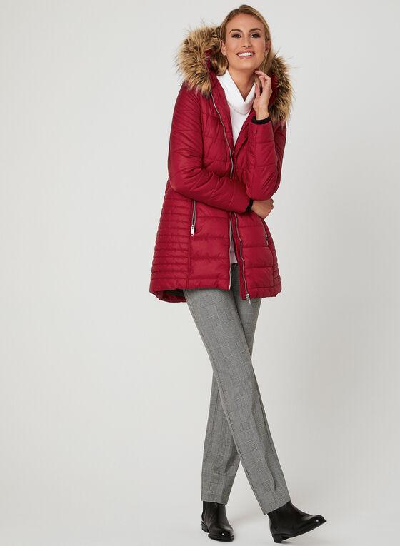 Manteau avec col amovible en fausse fourrure , Rouge, hi-res