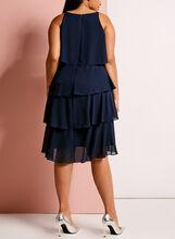 Rhinestone Detail Tiered Dress, Blue, hi-res