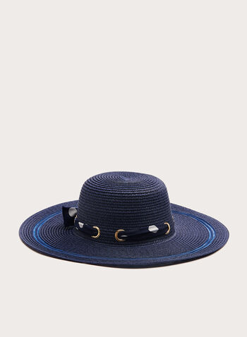 Large Straw Hat With Polka Dot Scarf, Blue, hi-res