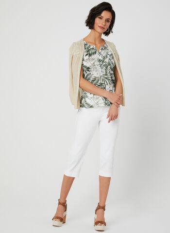 Palm Print T-Shirt, Green,  henley, short sleeves, leaf print, linen, summer 2019