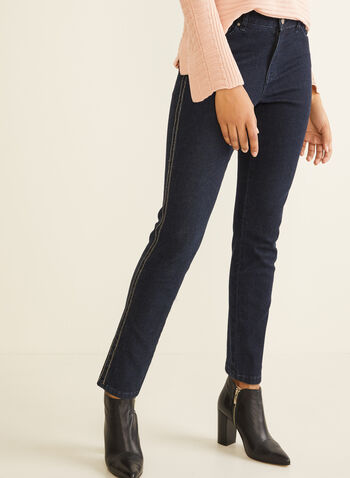 Signature Fit Crystal Trim Jeans, Blue,  stretchy jeans