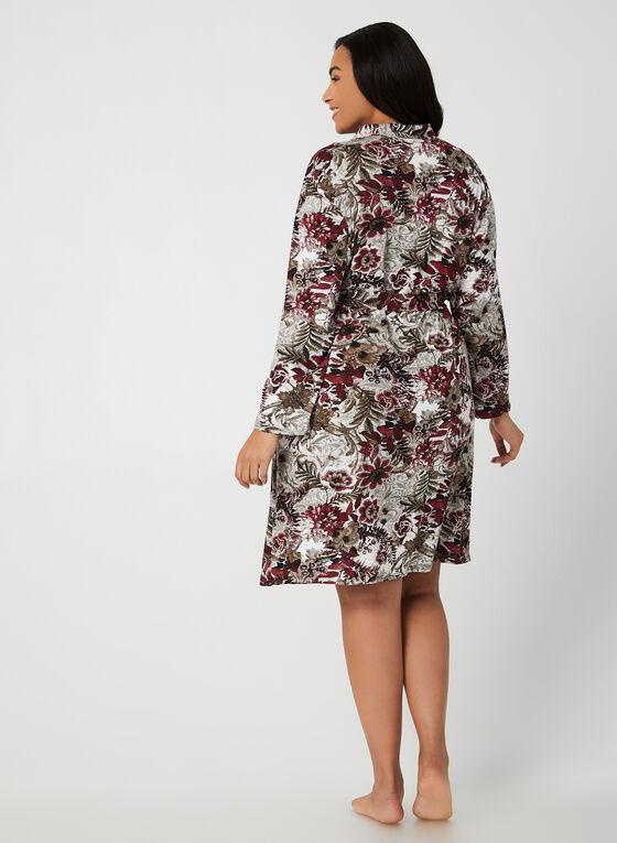Hamilton - Floral Print Peignoir Set , Black, hi-res