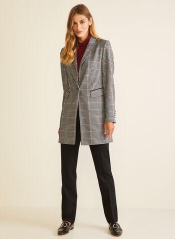 Veste redingote motif tartan, Noir,  veste, un bouton, col cranté, tartan, redingote, automne hiver 2020