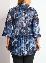 Tunique chemisier plissée à motif floral, Bleu, hi-res