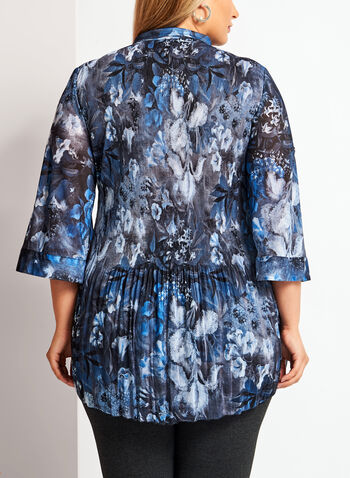 Printed Plissé Button Down Tunic, Blue, hi-res