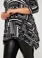Geometric Print ¾ Sleeve Tunic, Grey, hi-res